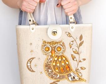 1970s Vintage Owl Sequin Purse