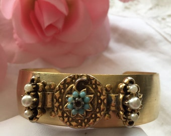Handmade Gold Tone Cuff with Faux Pearls Flower Assemblage
