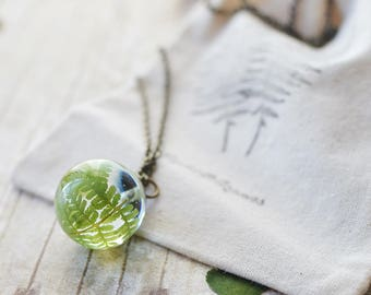 Fern necklace pressed leaf terrarium jewelry nature inspired, gift for her