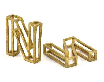 N Letter Pendants, 2 Raw Brass N Letter Alphabets, Initials, Uppercase, Letter Initial Pendant for Personalized Necklaces
