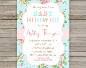 Shabby Chic Baby Shower Invitation, Shabby Chic Baby Shower, Girl Baby Shower Invitation, Shabby Chic Shower Invite