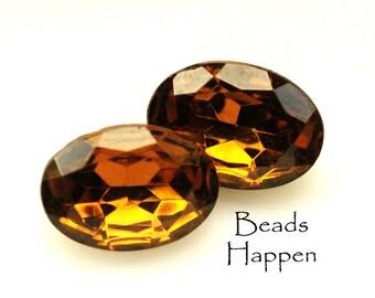 VINTAGE 18x13mm Smoked Topaz Oval Glass Jewels Stones Rhinestones, Smoke Topaz, Smokey Topaz, Brown, 18x13 ovals,  Quantity 2