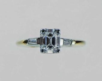 Vintage 1970s Emerald Cut Diamond Engagement Ring .33ct