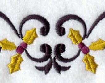 Christmas  Towel - Holly Towel - Christmas Towel - Embroidered Towel - Flour Sack Towel - Hand Towel - Bath Towel - Fingertip - Apron