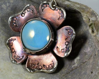 Rustic Earthy Organic Mixed Metal Hand Stamped Flower Pendant Necklace with Bezel Set Baby Blue Glass Bead