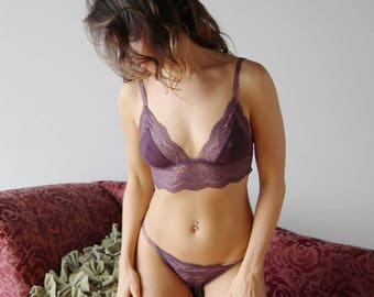 lace lingerie set including the bralette and bikini panties - ROMANTIC - ready to ship - size Small