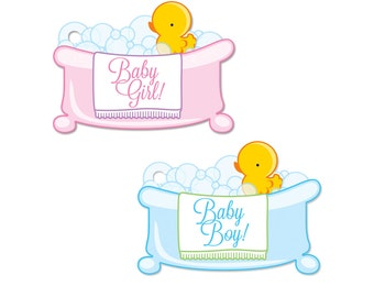 Baby Shower Gift Tag in Baby Girl Pink or Baby Boy Blue Set of 6 Yellow Duck Bubble Bath Theme Gift Basket Card or Ducky Gender Reveal Party