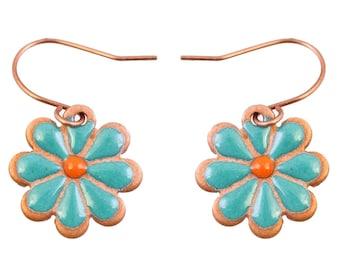 Enameled copper ear ring in moss rose design