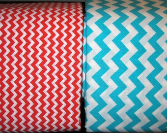 100 percent cotton chevron fabric/aqua/red/white/quilting/crafts/apparel/by the yard