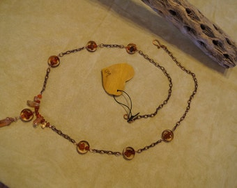 Etched Copper, Ice Flake Quartz, Lusterstone, Carnelian and Red Agate Necklace