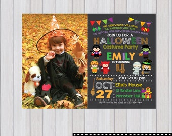 HALLOWEEN PARTY Invitation, Halloween Birthday Party invitation, Halloween invitation, Costume Party Invitation