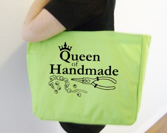 Handmade tote bag - handmade gift - polyester tote bag - handmade craft tote bag - original design bag - crafters tote - hobby/craft tote