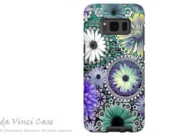 Case for Samsung Galaxy S8 - Seafoam Green and Purple Paisley S 8 Case with Daisy Art - Tidal Bloom - Premium S8 Dual Layer Case