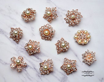 12 Rose Gold Pearl Brooch Lot Mixed Rhinestone Pin Wholesale Crystal Wedding Bouquet Brooch Bridal Button Hair Cake Shoe DIY Kit
