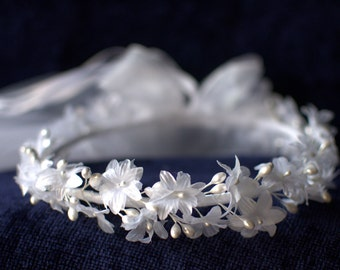 First Communion Veil Headpiece with White Flowers, Pearl Accents, Tulle, White Ribbon Bow