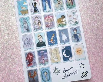 The Major Arcana Tarot Sticker Sheet; Kiss-cut decorative illustrated tarot card stickers.