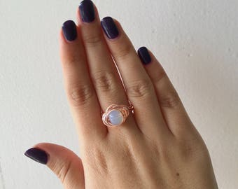 Opalite Moonstone Wire Wrap Rose Gold Ring // 7.5