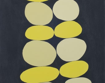Chartreuse Stacked Dots painting