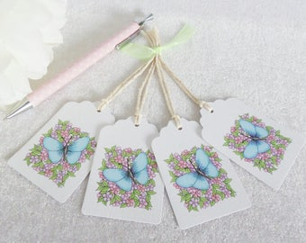 Little Flowers & Blue Butterfly Tags - set of 4 tags