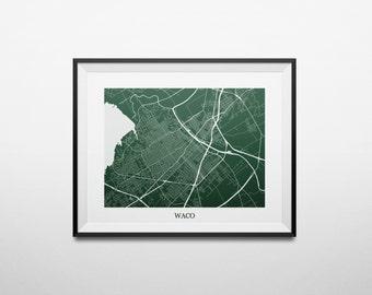 Map of Waco, Texas Abstract Street Map Print