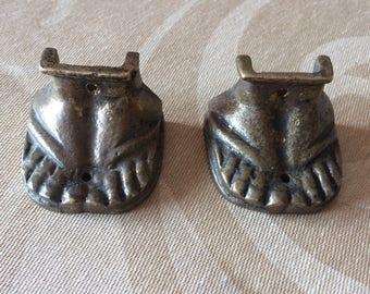 Vintage pair of metal brass feet foot table legs feet furniture