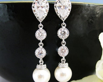 Bridal Pearl Earrings Swarovski 10mm Round Pearl Wedding Jewelry Pearl Dangle Earrings Bridesmaid Gift Cubic Zirconia Earrings (E039)
