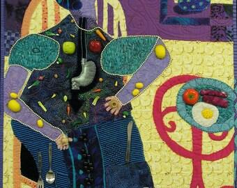 Textile art. Quilt art wall. Fiber art wall hanging   A Big English Breakfast