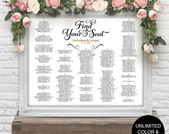 seating assignment, wedding seating chart, Printable, alphabetical order seating chart, DIY,wedding decorations, signs,S22