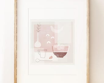 Contemporary still life art print 'Silently', Modern kitchen wall art, gallery print.