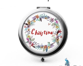 Custom Compact Mirror Whimsical Boho Floral Wreath The Christina Bridesmaid Gifts Cosmetic Mirror Personalized Gifts