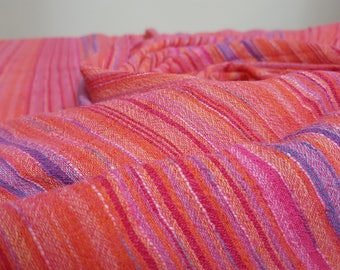 Striped Cotton Cheesecloth Dressmaking Fabric in Pink, Orange, Red and Blue - 180 cm Piece