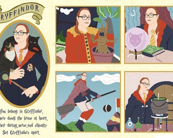 custom Harry potter, harry potter gift, harry potter portrait, Slytherin, Gryffindor, Hufflepuff, Ravenclaw, harry potter portrait