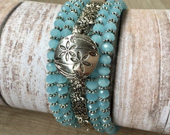 Blue Flower Power Multi Strand Memory Wire Coil Wrap Bracelet With Flower Button