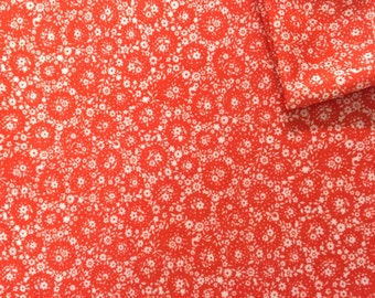 Vintage Fabric 70's Polyester, Red, White, Floral, Material, Textiles
