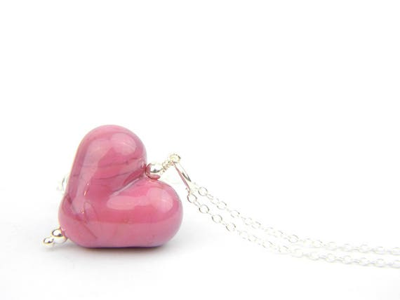 Art Glass Pendant - Raspberry Puffy Heart Glass Bead Sterling Silver Pendant - Classic Collection