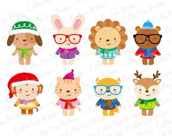 Cute Winter Animals Clipart, hipster animals clip art, fashion, winter, sweaters (A030)