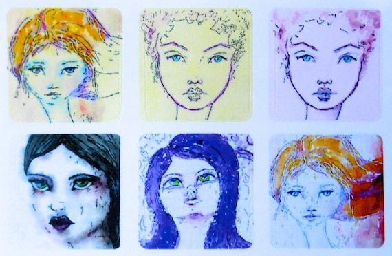 Mini Girls 4 - Fine Art Stickers