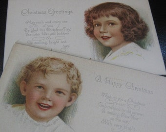 Unusual Pair of Vintage Christmas Postcards With Lovely Young Boy and Girl, Unused