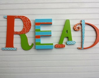 READ Letters - READ Sign - Kids Wall Decor - Book Room Letters - Reading Room - Play Room Decor - Mixed Font