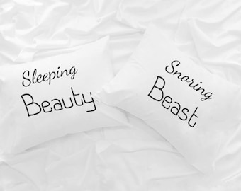 Sleeping Beauty Snoring beast couple pillowcases, His and Hers cushion case, gift idea for him her Boyfriend girlfriend Wedding Anniversary
