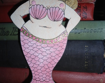 Fat Pink tailed articulated mermaid heart paper doll