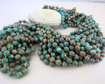 Verdigris Copper Patina Ball Chain,   4.5mm Ball chain, Bulk Chain with 1 Clasp per foot, 1 to 2 Week Production time