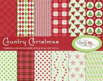 50%OFF Country Christmas digital papers, Christmas scrapbook, scrapbook paper, Christmas patterns, patterned paper, commercial use
