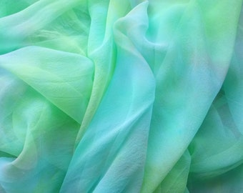 Hand Dyed Silk Gauze Scarf Blank or Yardage Sail Away Colorway