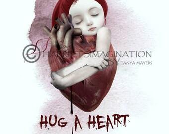 Bleeding heart | Girl and heart | Art print | Heart wall decor | A4 Size | Digital painting | Heart art | Unique gift | Anatomy heart