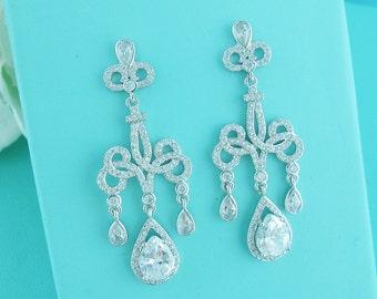 CZ Chandelier earrings, cubic zirconia earrings, wedding jewelry, bridal jewelry, wedding earrings, dangle bridal earring 235818731