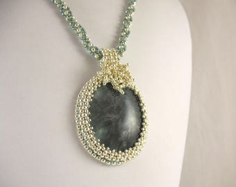 Embroidered Blue Gray Agate Pendant on Woven Bead Necklace