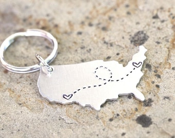 Best Friend Gift - USA Keychain / Long Distance Gift Custom Handstamped America Keychain