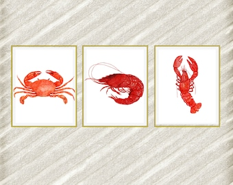 "Beach animals prints: ""SEA ANIMALS PRINTS"" Nautical prints Watercolor animals Crab Lobster Shrimps Restaurant Decor Nautical prints set of 3"