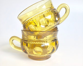 indiana glass king's crown cups in yellow   thumbprint cups   yellow glass tea cups